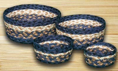 Light/Dark Blue and Mustard Braided Jute Baskets (Set of 4)