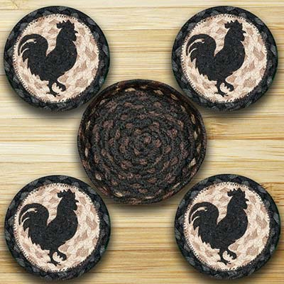 Rooster Silhouette Braided Coaster Set