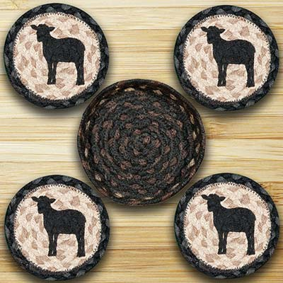 Sheep Silhouette Braided Coaster Set