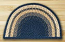 Light Blue, Dark Blue, and Mustard Half Moon Braided Jute Rug - Small