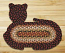 Burgundy, Mustard, and Ivory Cat Shaped Rug