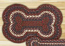 Burgundy and Gray Braided Dog Bone Rug - Large