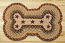 Burgundy, Gray, and Creme with Stars Dog Bone Rug - Large