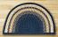 Light Blue, Dark Blue, and Mustard Half Moon Braided Jute Rug - Large