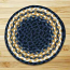 Light Blue, Dark Blue, and Mustard Braided Jute Rug, Round (Special Order Sizes)