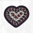 Burgundy, Black, and Tan Cotton Braid Trivet - Heart