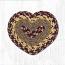 Burgundy, Gray, and Mustard Cotton Braid Trivet - Heart