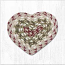 Olive, Burgundy, and Gray Cotton Braid Trivet - Heart