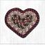 Burgundy and Mustard Cotton Braid Trivet - Heart