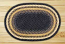 Light Blue, Dark Blue, and Mustard Braided Jute Rug, Oval - 20 x 30 inch