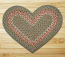 Green and Burgundy Braided Jute Rug - Heart