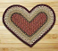 Burgundy and Mustard Braided Jute Rug - Heart