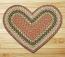 Olive, Burgundy, and Gray Braided Jute Rug - Heart