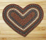 Burgundy and Gray Braided Jute Rug - Heart
