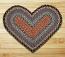 Burgundy, Blue, and Gray Braided Jute Rug - Heart