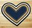 Light Blue, Dark Blue, and Mustard Braided Jute Rug - Heart