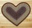 Burgundy, Black, and Sage Braided Jute Rug - Heart