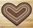 Burgundy, Mustard, and Ivory Braided Jute Rug - Heart