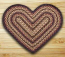 Black Cherry, Chocolate, and Cream Braided Jute Rug - Heart