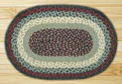 Blue and Burgundy Braided Jute Tablemat - Oval
