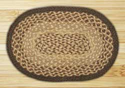 Chocolate and Natural Braided Jute Tablemat - Oval