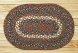 Burgundy and Gray Braided Jute Tablemat - Oval