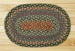 Burgundy, Blue, and Gray Braided Jute Tablemat - Oval