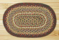 Burgundy and Ivory Braided Jute Tablemat - Oval