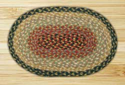 Burgundy, Gray, and Creme Braided Jute Tablemat - Oval