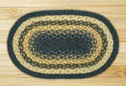 Light Blue, Dark Blue, and Mustard Braided Jute Tablemat - Oval