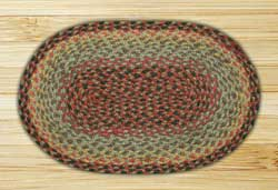 Burgundy, Black, and Sage Braided Jute Tablemat - Oval