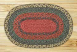 Burgundy, Green, and Sunflower Braided Jute Tablemat - Oval