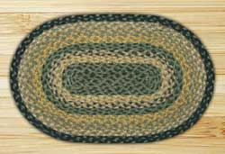 Black, Mustard, and Creme Braided Jute Tablemat - Oval