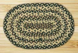 Ebony, Ivory, and Chocolate Braided Jute Tablemat - Oval