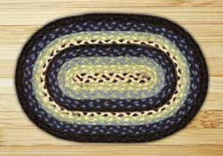Blueberry and Creme Braided Jute Tablemat - Oval