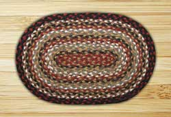 Burgundy, Mustard, and Ivory Braided Jute Tablemat - Oval