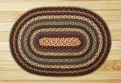 Burgundy, Blue, and Black Braided Jute Tablemat - Oval