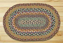 Blue, Violet, and Cream Braided Jute Tablemat - Oval