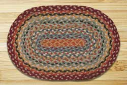 Burgundy, Russet, and Blue Sky Braided Jute Tablemat - Oval
