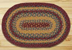 Marigold and Wine Braided Jute Tablemat - Oval