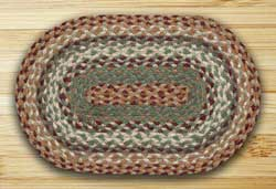 Buttermilk and Cranberry Braided Jute Tablemat - Oval