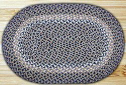 Blue and Natural Braided Jute Rug, Oval (Special Order Sizes)