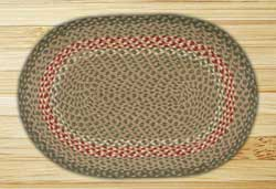 Green and Burgundy Braided Jute Rug, Oval - 20 x 36 inch