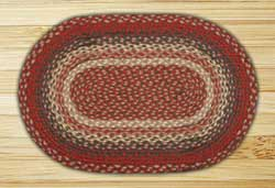 Burgundy Braided Jute Rug, Oval - 20 x 36 inch