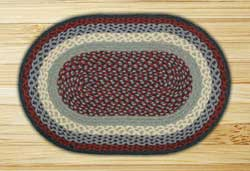 Blue and Burgundy Braided Jute Rug, Oval - 20 x 30 inch