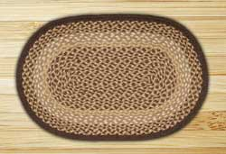 Chocolate and Natural Braided Jute Rug, Oval - 20 x 36 inch
