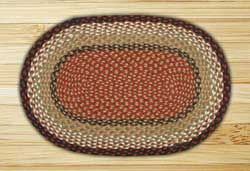 Burgundy and Mustard Braided Jute Rug, Oval - 20 x 36 inch
