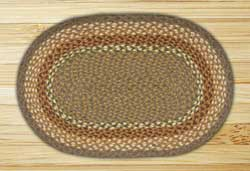 Mustard and Ivory Braided Jute Rug, Oval - 27 x 45 inch