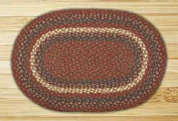 Burgundy and Gray Braided Jute Rug, Oval - 20 x 30 inch