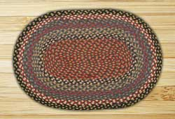 Burgundy, Blue, and Gray Braided Jute Rug, Oval - 20 x 48 inch